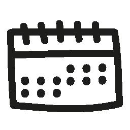 カレンダーの手描きツール無料アイコン