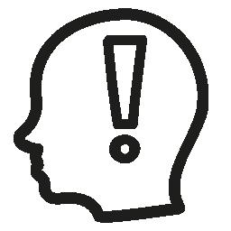 注意手側表示無料アイコンから禿げ頭の中に感嘆符のシンボルを描画