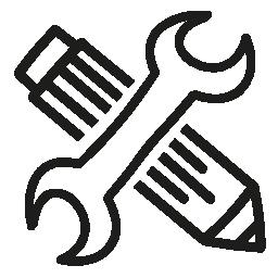 構成ツールのインターフェイスを描画シンボル鉛筆とレンチ クロス無料アイコン