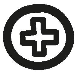 プラス記号ボタン手引かれた円とクロス概要無料アイコン