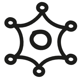 6 点のバリアント手の星描画シンボル無料アイコン
