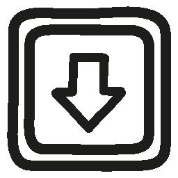 ボタンの手ダウン描かれた矢印と正方形で無料のアイコンについて説明します