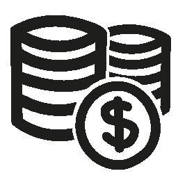 コイン スタックのドル手の描画商業シンボル無料アイコン