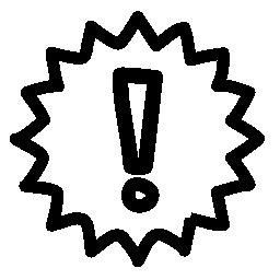 警告手描き下ろしシンボル無料アイコン