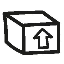 上向き矢印手描き下ろしシンボル無料アイコン ボックス パッケージ