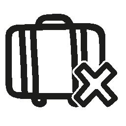 スーツケース手描き下ろしインタ フェース シンボル無料アイコンをキャンセルします。