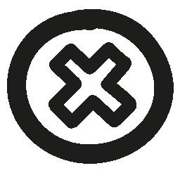 手描かれたアウトライン無料アイコン内部の十字で円形のボタンをキャンセルします。