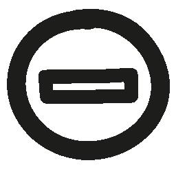 円のマイナス手描かれたアウトライン無料アイコン