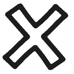 手描きの十字形のシンボル概要無料のアイコンを削除します。