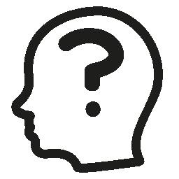 ハゲの男性側の頭の中で疑問符概要無料アイコン