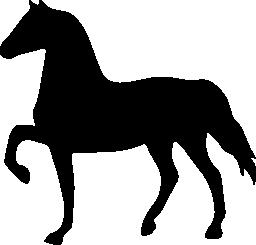 無料のアイコンを左に直面している馬の黒い図形
