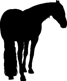 長い尾無料アイコンと馬の黒い図形