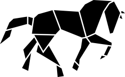 ポリゴンの無料アイコンの馬の黒い図形