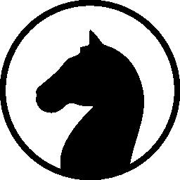 馬黒い図形の頭に直面してサークル概要無料アイコン内の左