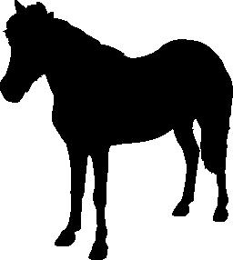 馬立って動物の黒の形に直面して左無料アイコン