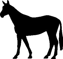 無料のアイコンを左に直面しているロングテールの馬薄い黒の立っている形