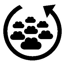 無料アイコンの周りの円形の矢印と雲グループ