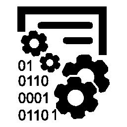 歯車とバイナリ コードの番号とデータ管理インタ フェース シンボル無料のアイコン