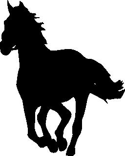 無料のアイコンを左に直面している黒いシルエット ギャロッピングの馬