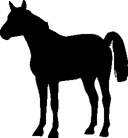 馬立っている静かな黒い図形に直面して左無料アイコン