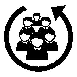 円形矢印無料アイコンでのスタッフの人々 グループ