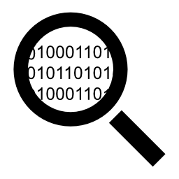 検索バイナリ コード番号無料アイコンと拡大鏡のインタ フェース シンボルのコード