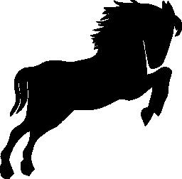 背中の上に立って右に見ている野生の馬の黒いシルエット足無料アイコン