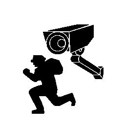 監視カメラ撮影強盗無料アイコン