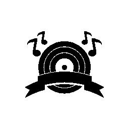 音符とリボン バナー無料アイコン音楽ディスクの音楽ブームの象徴