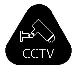 CCTV の手紙と角丸の三角形の無料アイコン内部ビデオ カメラ監視の記号