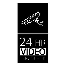 24 時間ビデオ監視信号無料アイコン