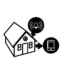 無料の携帯電話のアイコンに接続された住宅アラーム監視システムにより保護されます。