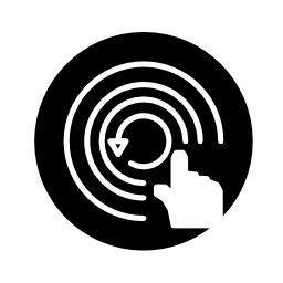円形の同心円の線の円の上の手の監視シンボル無料のアイコン