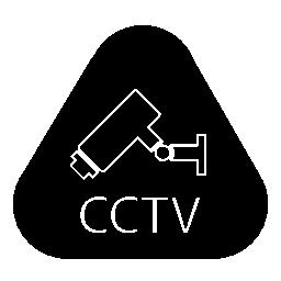 角丸の三角形の無料のアイコン内の文字は cctv 監視ビデオ カメラ