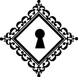 エレガントな鍵穴菱形で飾られたビンテージ デザイン無料のアイコンの形状