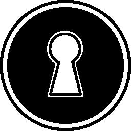 円形の無料アイコンの鍵穴