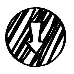 下矢印円無料アイコンでスケッチ