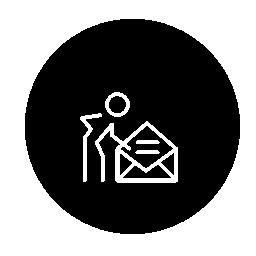 開いた電子メールの封筒を使用円無料アイコンの中の人