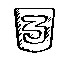 HTML 3 スケッチ ロゴ無料アイコン