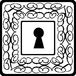 細い繊細な花柄を用いる正方形の鍵穴無料アイコン