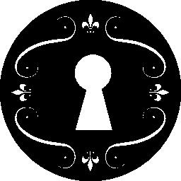 花のデザイン無料のアイコンの付いた円で鍵穴