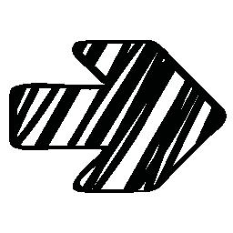 右のスケッチ矢印無料アイコン
