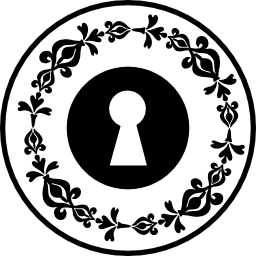 円形のエレガントな花柄のデザイン無料のアイコンとキーホール円