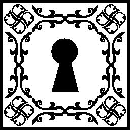 ヴィンテージ正方形で鍵穴無料アイコン