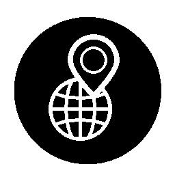 サークル無料アイコンにピン記号で世界