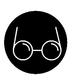 サークル無料アイコンの円形輪郭の眼鏡