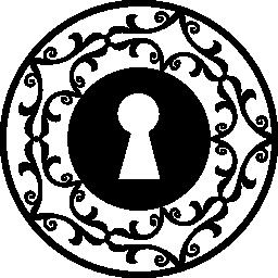 装飾的な円の無料アイコンの鍵穴