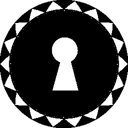 小さな三角形、円で鍵穴形状ボーダー無料アイコン