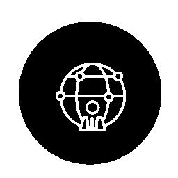 サークル無料アイコンで世界人アウトライン記号