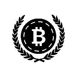 オリーブの葉両方側面無料アイコンに Bitcoin
